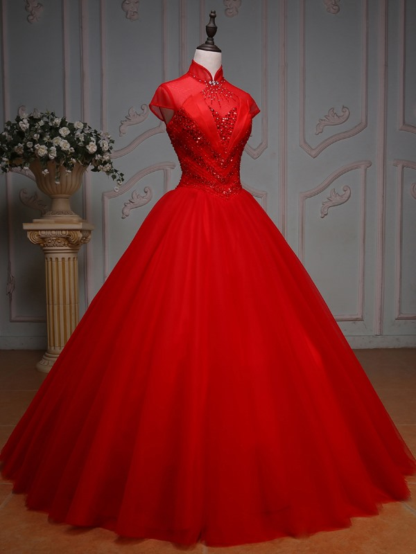 Pretty High Neck Ball Gown Cap Sleeves Beading Crystal Pleats Long Quinceanera Dress