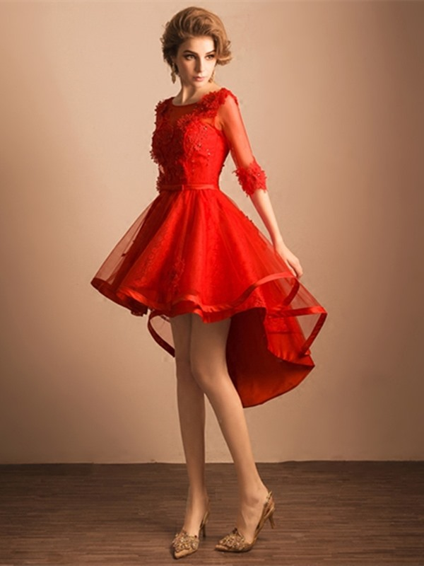 Pretty A-Line Scoop Half Sleeves Beading Lace Asymmetry Homecoming Dress