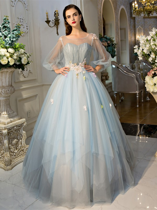 Charming Scoop Ball Gown Long Sleeves Pearls Pleats Court Train Quinceanera Dress