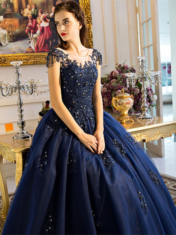 Stylish Beading Scoop Ball Gown Pearls Appliques Quinceanera Dress