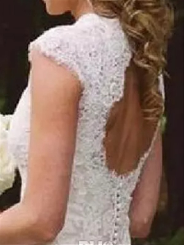 Backless High Low Lace Beach Wedding Dress