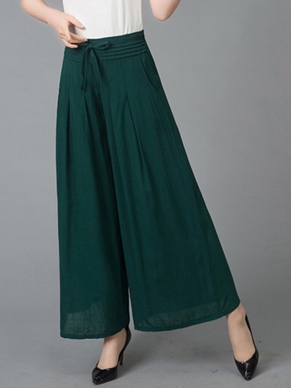 High-Waist Lace-Up Wide Legs Casual Pants