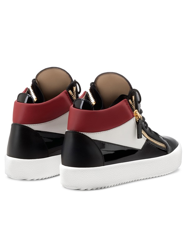 PU Patchwork Lace-Up Zipper Sneakers for Men