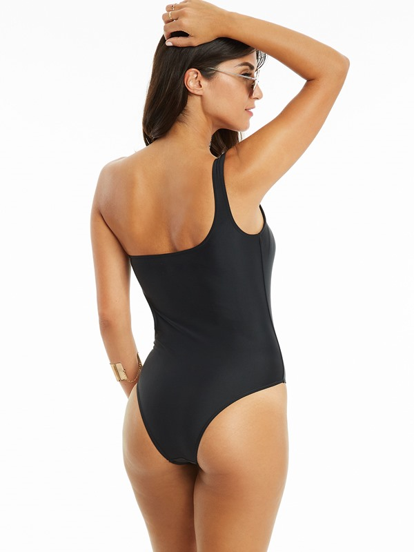 Plain One Shoulder Asymmetric Monokini