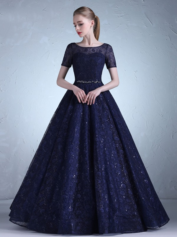 Scoop Beading Lace Sashes Sequins Evening Dress