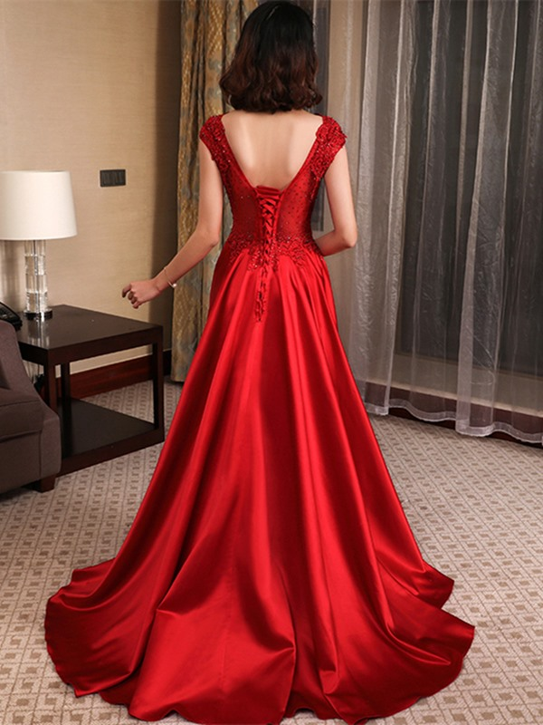Elegant A-Line Beading Round Neck Appliques Floor-Length Evening Dress