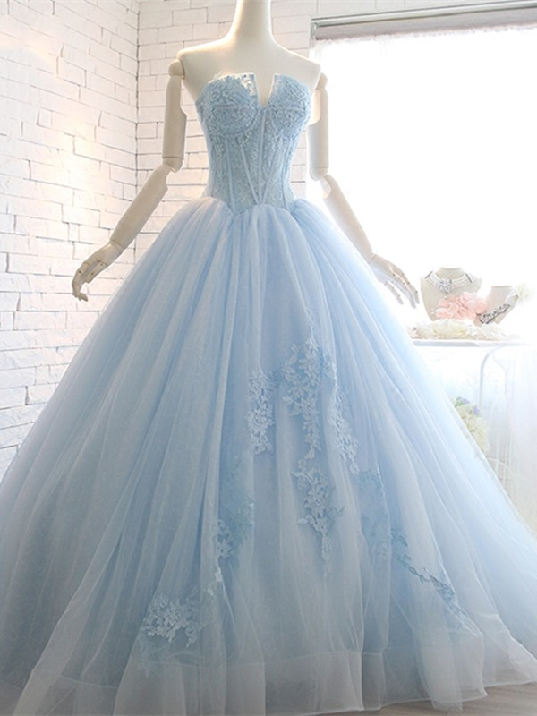 Nice Appliques Ball Gown Sweetheart Beading Lace Court Train Quinceanera Dress