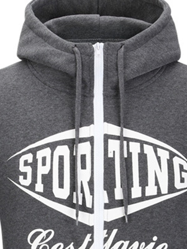 Fashion Letter Print Lace-up Men's Casual Hoodie