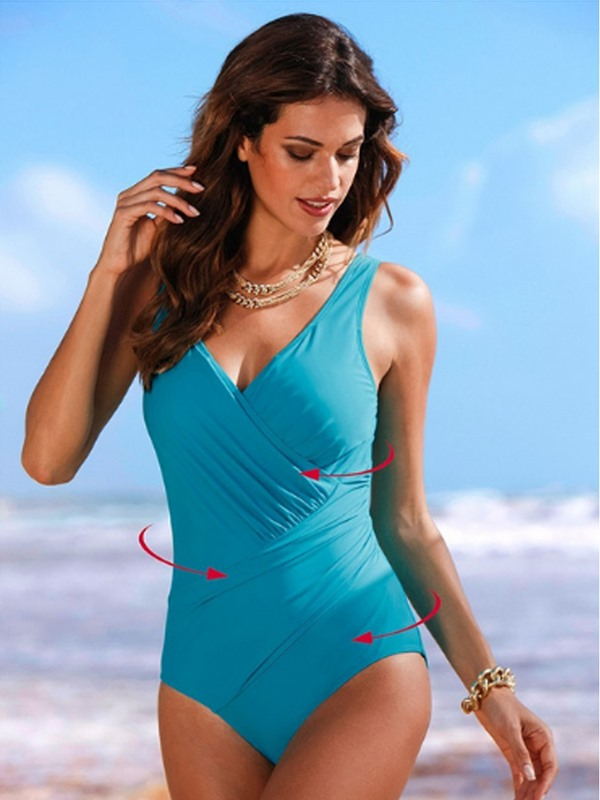 Fashionable Polka Dots Pleated One-Piece Swimwear