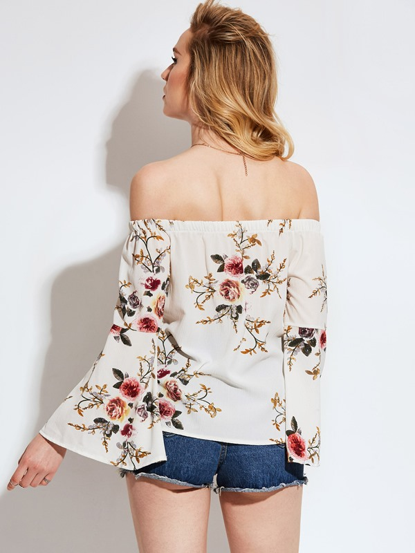 Chic Off Shoulder Print Flare Sleeve Women's Blouse