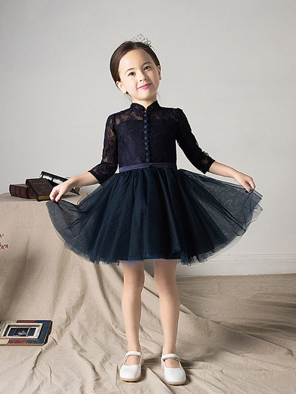 Vintage 3/4 Length Sleeves High Neck Lace Girl Party Dress