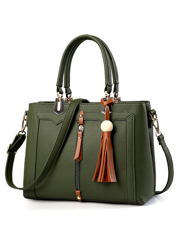 Leisure Contrast Color Tassel Pendant PU Satchel