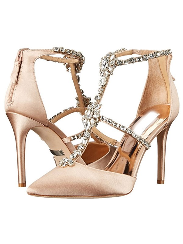 PU Rhinestone Shining Zipper Women's Heel Sandals