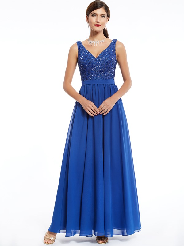Elegant V Neck Zipper-Up Beaded Lace Evening Dress