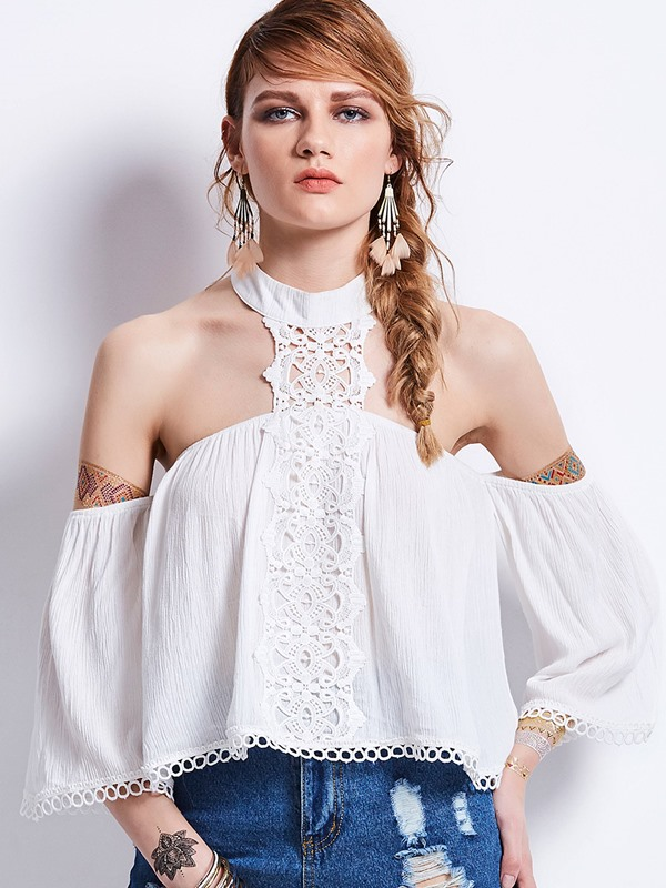 Slim Round Neck Lace Off Shoulder Blouse