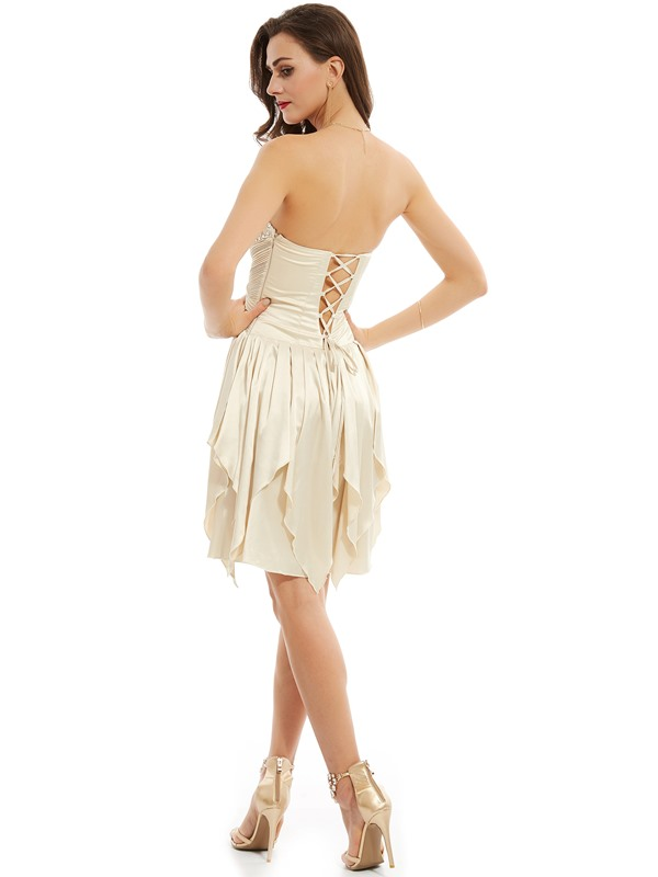 Pretty Sweetheart Lace-Up Beaded A Line Homecoming Dress