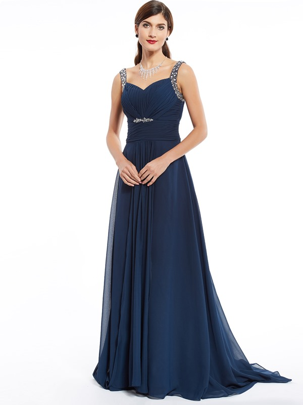 Elegant Straps Zipper-Up Beaded A Line Evening Dress