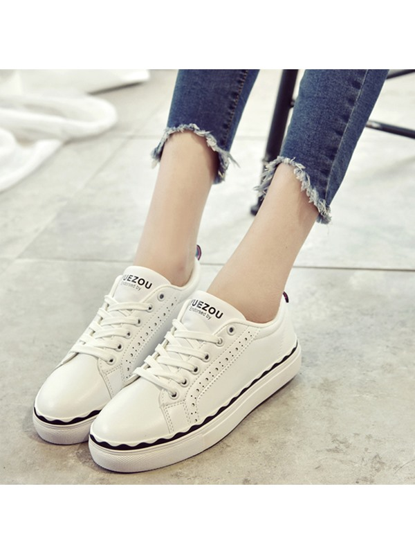 PU Hollow Lace-Up Nice White Sneakers