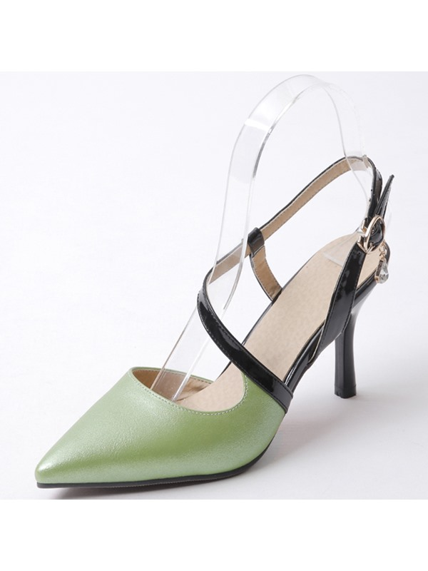 PU Buckle Pointed Toe Elegant Women's Pumps