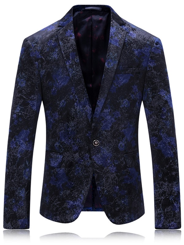 Tidebuy Notched Lapel Floral Print One Button Men's Blazer