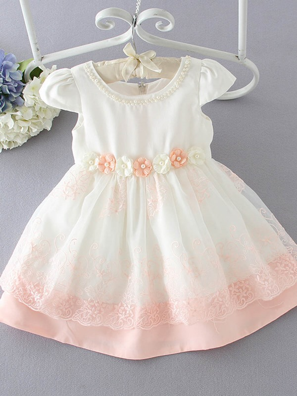 Sweet Appliques Bowknot Sleeveless Bud Girls' Dresses