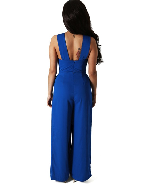 Cross strap Hollow Sleeveless Wide-Leg Jumpsuits