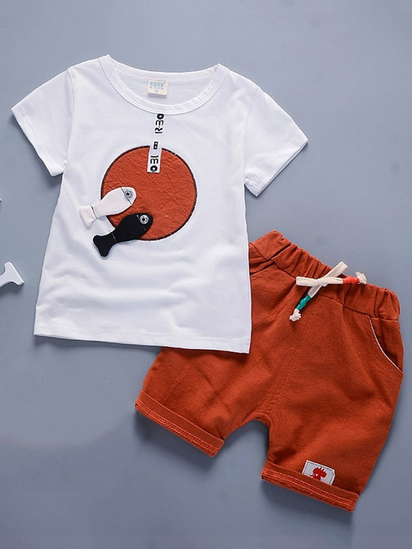 Fashion Animal Printed Lace-Up Tee Boys' Outfits