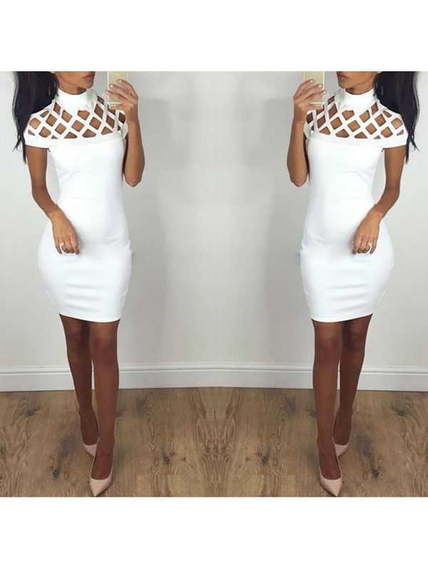 Solid Color Hollow Sexy Bodycon Dress