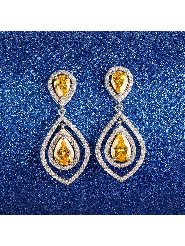 Long Alloy with Rhinestone Hollow Ultra Violet Earrings