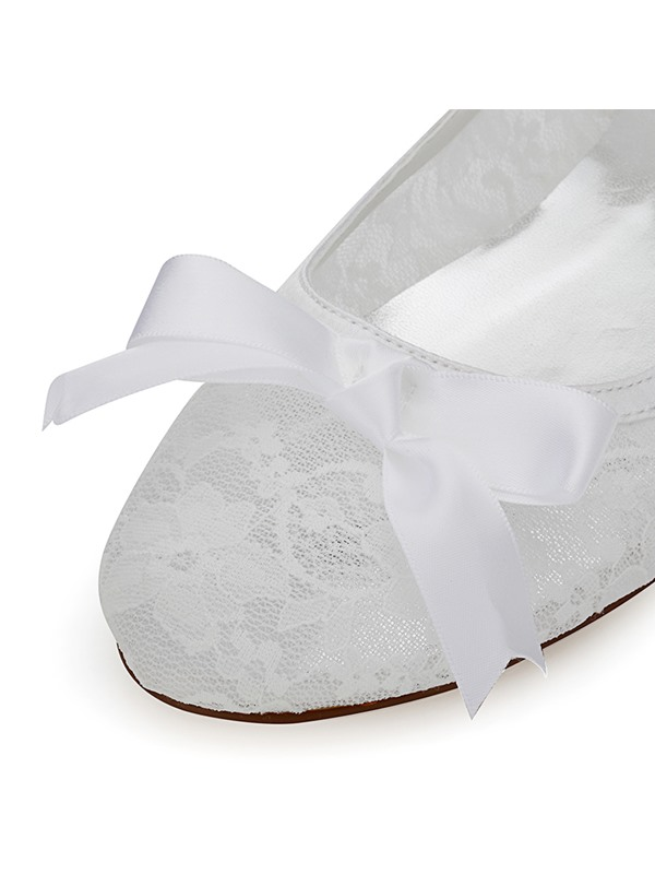 Mesh Lace Bowtie Slip-On Women's Flat Wedding Shoes
