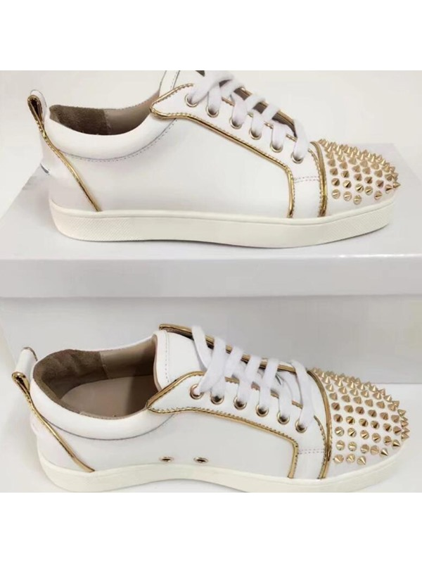 PU Lace-Up Rivets White Sneakers for Men