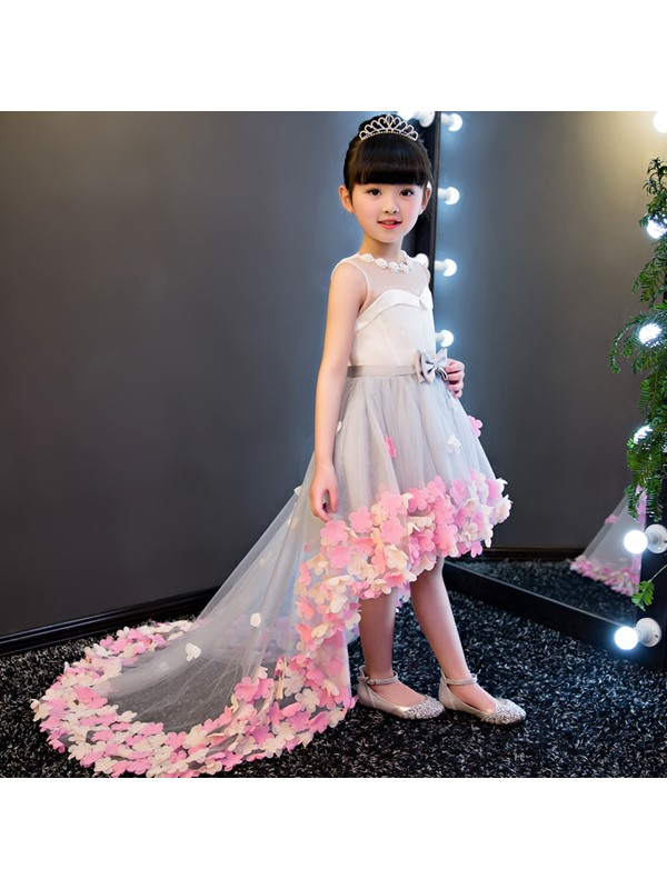 Dramatic Jewel Neck Bowknot High Low Flower Girl Dress