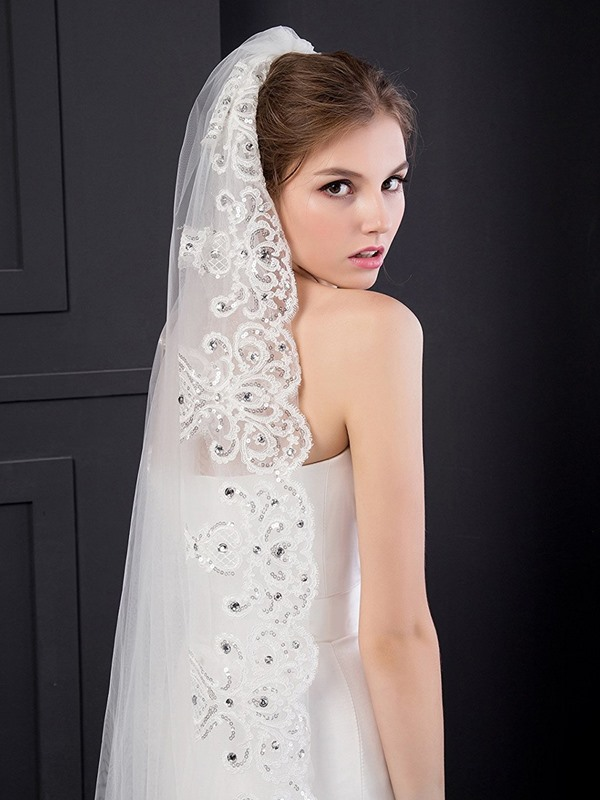 Elegant Appliques Edge Beaded Cathedral Veil