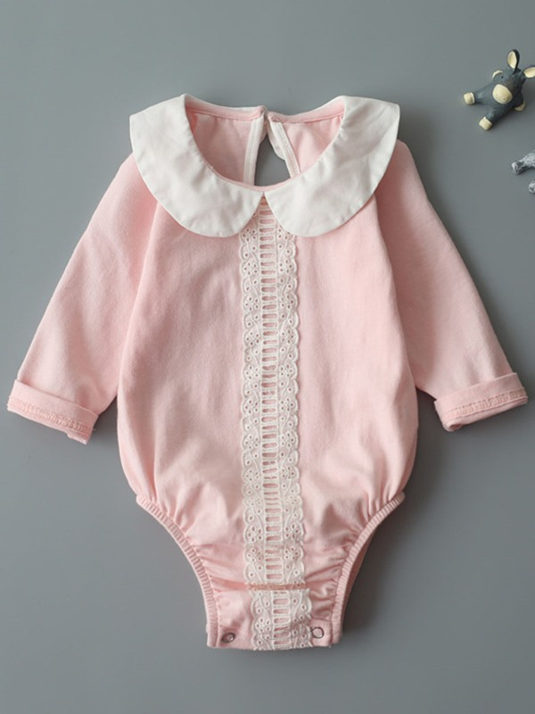 Sweet Peter Pan Collar Lace Long-Sleeve Baby Girls' Bodysuits