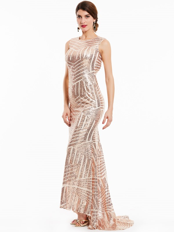 Scoop Backless Sequins Mermaid Evening Dress