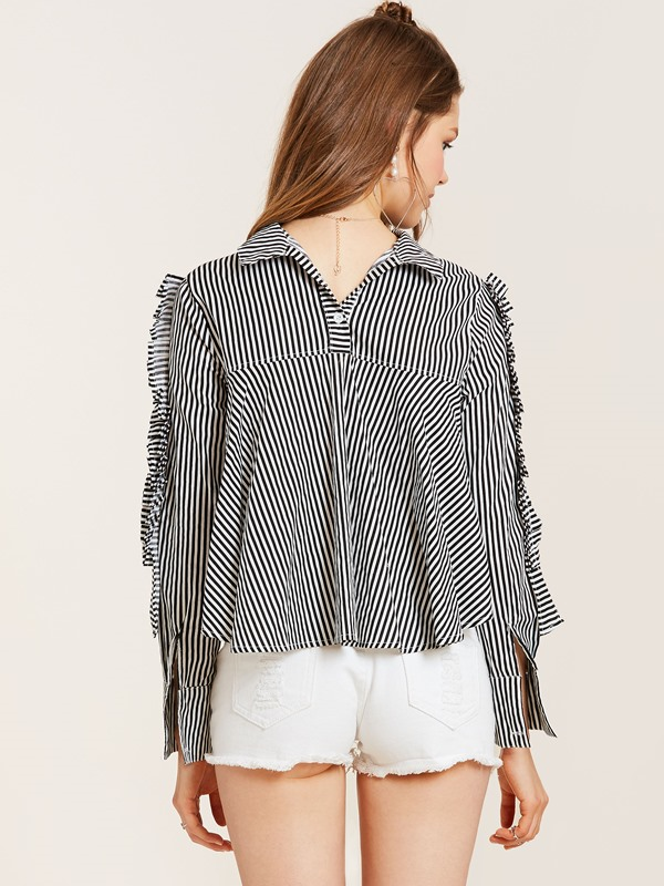 Lapel Stripe Pleated Pullover Blouse