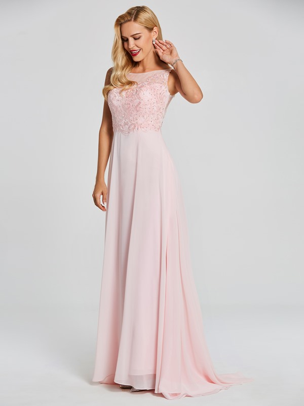 Charming Bateau Neck Beaded Appliques A Line Evening Dress