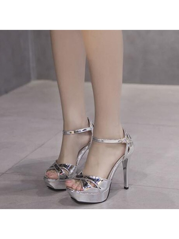PU Hollow Platform Shining Women's Sandals
