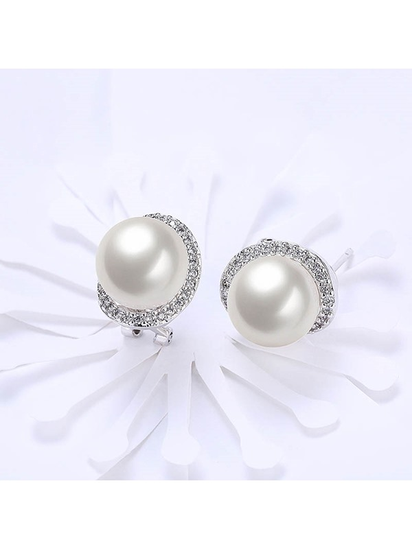 Round Diamante Pearl Stud Earrings