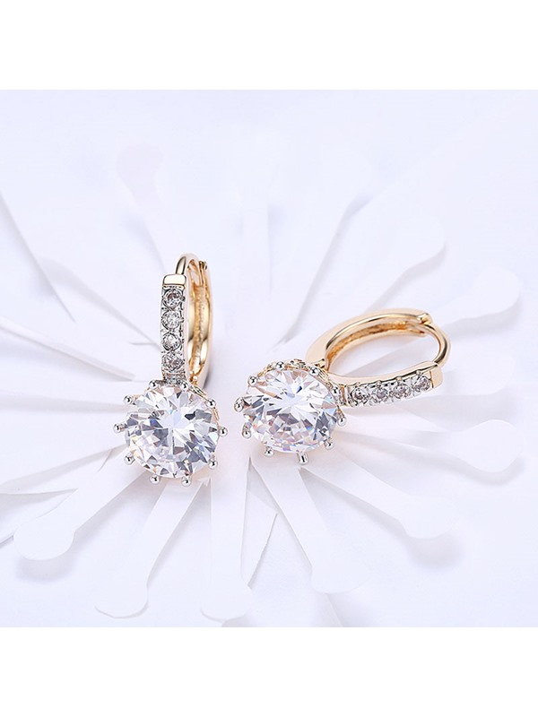 Champagne Gold Round Rhinestone Earrings