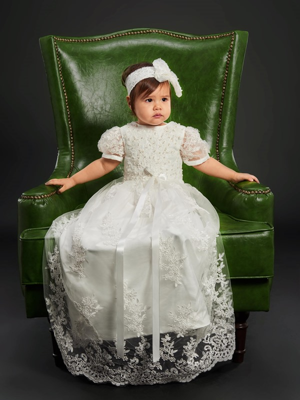 Short Sleeves Sashes Beaded Appliqued Baby Girl's Christening Dress