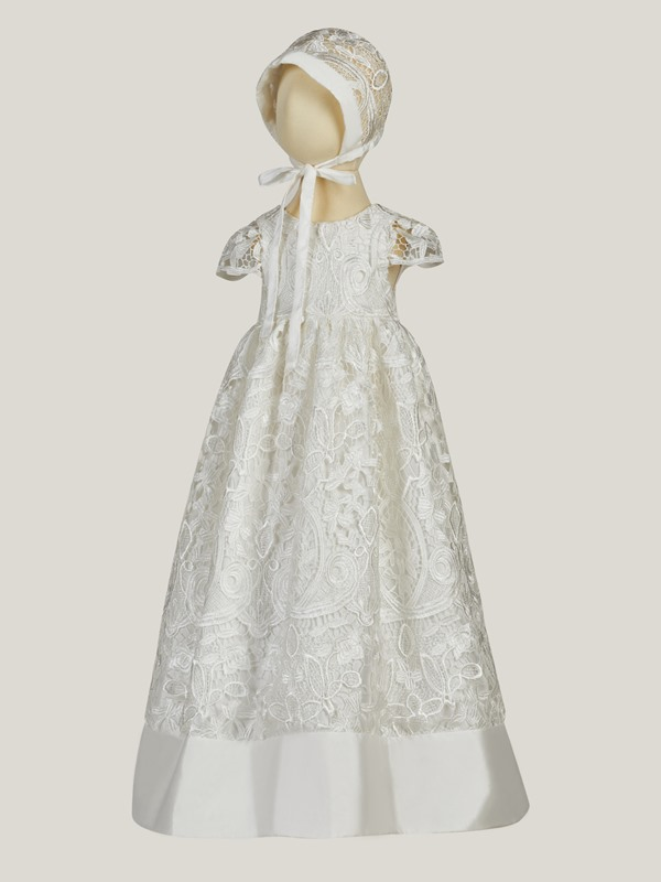 Round Neck Sashes Lace Baby Girl's Christening Gown