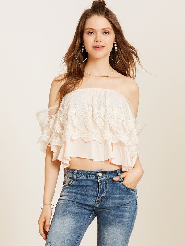 Slash Neck Lace Falbala Blouse