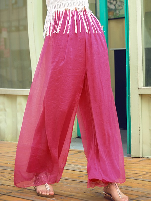 High-Waist Mesh Wide Legs Casual Pants