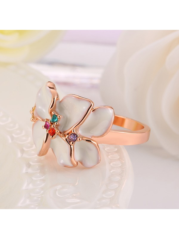 Rhinestone Embellished Rose Gold Plated Ring