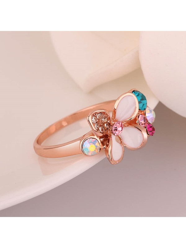 Colorful Flowers Design Rhinestone Inlaid Ring