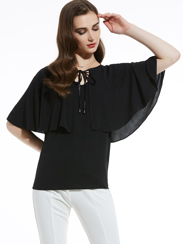 Round Neck Batwing Sleeve Blouse