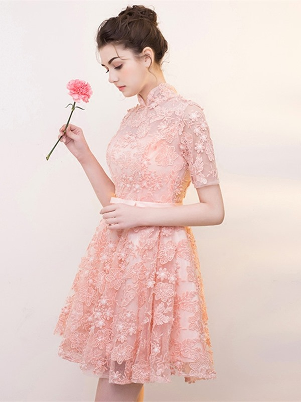 Elegant High Neck A-Line Bowknot Lace Sashes Short Sleeves Homecoming Dress