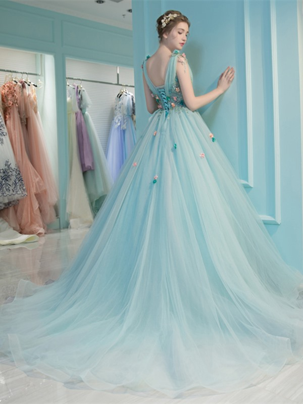 Attractive V-Neck Pleats Beading Ball Gown Court Train Quinceanera Dress