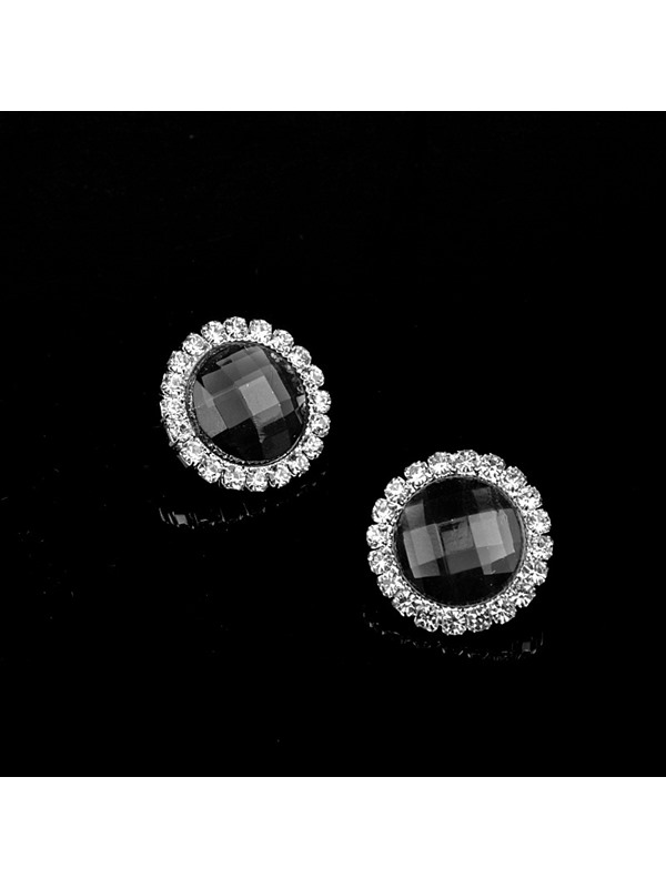 Rhinestone Diamante Round Anniversary Stud Earrings